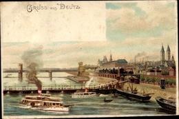 Lithographie Deutz Köln Nordrhein Westfalen, Rheinpartie Mit Blick Auf Den Ort, Schiffbrücke, Dampfer - Allemagne
