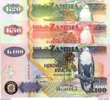 ZAMBIE 20 50 100 KWACHA 1992 - 2009 P-36 37 37 NEUF SET [ZM137-ZM139] - Sambia