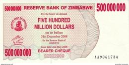 ZIMBABWE 500 MILLION DOLLARS 2008 P-60a NEUF [ZW151a] - Zimbabwe