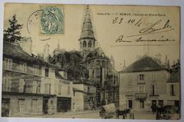 21 : Semur - Abside De Notre-Dame - Animée : Petite Animation - Attelage - Plan Inhabituel - (n°8559) - Semur