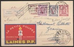"""EP 65c Publicité """"Laines P.F. La Petite Poupée"""" Flamme """"NAMUR/28 III 1949/Casino, Citadelle, …"""" Pour HUY - [Retou - Enteros Postales"""