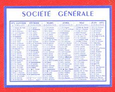 Calendrier Societe Générale 1971 Petit Format - Calendriers