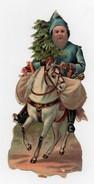 CHROMO Découpis Gaufrée Père Noël Cheval Sapins Jouets Cheval - Motiv 'Weihnachten'