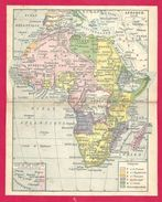 Carte De L'Afrique Verso Et Détails Verso Larousse 1923 - Old Paper