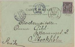 17734# SAGE CARTE POSTALE GRAND PALAIS Obl PARIS N DEPART 1898 Pour STOCKHOLM SUEDE SVERIGE - Postmark Collection (Covers)