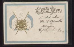 Präge-AK Gruss Aus Bayern - Wappen Zwischen Zwei Fahnen - Gelaufen 6.4.1900 - Deutschland