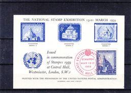 Nations Unies - Feuillet Remis Lors De L'expo Stampex De 1959 à Londres - - New-York - Siège De L'ONU