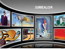 MALDIVES 2016 SHEET SURREALISM ART PAINTINGS ARTE PINTURAS Mld16905b - Maldiven (1965-...)