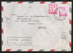 A) 1964 BELGIUM, BAUDOUIN KING, TWO STAMPS, AIRMAIL, CIRCULATED COVER FROM BRUXELLES TO MEXICO D.F. - Airmail