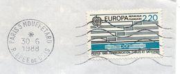 1988--tp Europa 2.20F  Seul Sur Lettre Format  -cachet SECAP MUETTE  Paris 5 Mouffetard - Marcophilie (Lettres)
