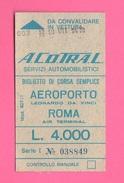 Roma A.CO.TRA.L Biglietto Corsa Autobus Da 4000 Lire - Europa