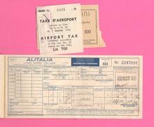 Alitalia LAI Avion Flight Biglietto 1959 Roma Paris Roma + 2 Ricevute - Plane
