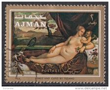 "845 Ajman 1971 "" Venere E Cupido "" Quadro Dipinto Da Tiziano Vecellio Titian Preoblt. Paintings Tableau - Nus"