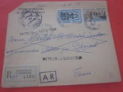 Europe France Marcophilie 1965 Lettre Recommandé Greffe Retour Griffes,CAD Divers Aff. Multiple Tarif -Djeminal Tunisie - 1961-....