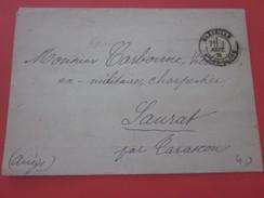 Sept 1881 Lettre Civile En Franchise Courrier Demande D'emploi Marseille Douanes Saurat Par Tarascon France Marcophilie - Marcophilie (Lettres)