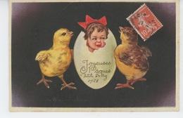 """ENFANTS - Jolie Carte Fantaisie Fillette Dans Oeuf Avec Poussins De """"Joyeuses Pâques"""" Signée COLOMBO - Pâques"""