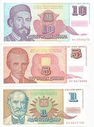 Yugoslavia 1 - 5 - 10 Novih Dinara 1994. UNC P-145 - 146 - 147 - Yugoslavia