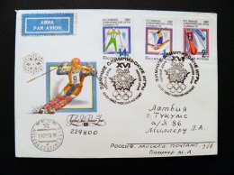 Cover Russia Special Cancel 1992 Sport Olympic Games Albertville Fdc Slalom Ski Bobsleigh Sent To Latvia - 1992-.... Fédération