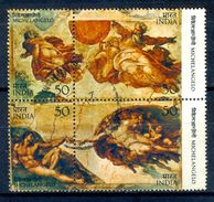 S137- India 1975. Michelangelo. Italy Painter & Sculpture. Art. Nude Painting. Painter. Artist. Religion. Christ. Bible. - India