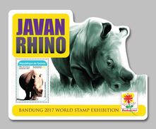 GUINEA 2017 - Javan Rhinoceros S/S. Official Issue - Rhinozerosse