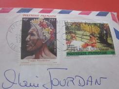 Timbre Aff Composé Sur Lettre 1989 Océanie Papeete Tahiti Europe France Lettre & Document Par Avion Air Mail- Lambesc - Tahiti