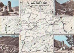 Andorre        H133        Valls D'Andorra.Contour Géographique , 4 Vues - Andorra