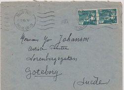 17783# MARIANNE DE GANDON LETTRE Obl BERCK PLAGE PAS DE CALAIS 1945 Pour GOTEBORG SUEDE SVERIGE - Postmark Collection (Covers)