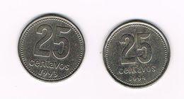 ) ARGENTINA  2 X 25  CENTAVOS  1993/94 - Argentine