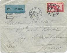 LETTRE PAR AVION  1933 AVEC CACHET DE HANOI ET CACHET SAÏGON-MARSEILLE - Brieven En Documenten