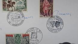 Autographe  Decaris Cachet 1968  Apposé Aux Timbres  N° 1331/1332  1495 à 1497 Et 1577    A Voir - Autographes