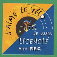 """-Autocollant-Cyclisme F.F.C.-""""J'aime Le Vélo""""-Je Suis Licencié à La F.F.C"""".- - Autocollants"""