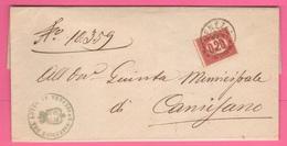 Coperta Di Lettera Da Venezia A Camisano Vicentino 1875 Dalla Direzione Del Lotto - 1878-00 Humbert I