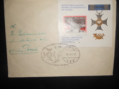 Pologne Bloc Lettre De Gdansk 1982 Pour Torun - Blocks & Sheetlets & Panes