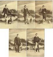 Chien, Lévrier Barzoï & Homme Avec Fleurs. Lot De 5 Cartes. - Dogs