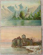 Litho CHROMO Precurseur ILLUSTRATEUR KOPAL 248 ET 249 Paysage EGLISE Maria Wörth Carinthie Autriche +Chillon Vaus Suisse - Illustrateurs & Photographes