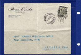 POSTAL HISTORY-Libia-Bengasi-15-6-1933-  Busta    Da Bengasi  A  Livorno, Targhetta Al Retro - Libia