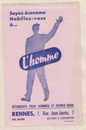 788  BUVARD L'HOMME  RENNES - Textile & Clothing