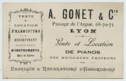 Carte Publicitaire A. Gonet, 68-72 Passage De L'Argue à Lyon. Vente Et Location De Pianos, Harmoniums. Accordéon. 1890. - Pubblicitari