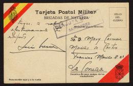 España 1937 Tarjeta Postal Militar, Censura Militar Santander De Llanes A Una Madrina De Guerra En La Coru&ntilde - 1931-50 Lettres
