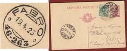 FABRO * 46-263 * Annullo MOLTO BENE IMPRESSO SU INTERO POSTALE DA PERUGIA IN DATA  19/4/23 - 1900-44 Vittorio Emanuele III