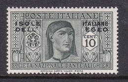Italy-Colonies And Territories-Aegean General Issue-Rodi S44 1932 Dante Alighieri 10c Olive MH - Italy