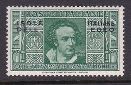 Italy-Colonies And Territories-Aegean General Issue-Rodi S47 1932 Dante Alighieri 25c Green MH - Italy