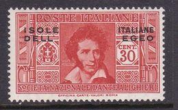 Italy-Colonies And Territories-Aegean General Issue-Rodi S48 1932 Dante Alighieri 30c Orange MH - Italy
