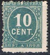 Sello 10 Cts Verde Impuesto Guerra 1897, Edifil Num 233 * - Impuestos De Guerra