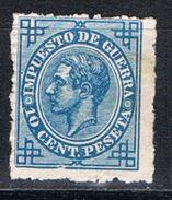 Sello 10 Cts Alfonso XII Impuesto Guerra 1876, VARIEDAD Impresion, Edifil Num 184 * - Impuestos De Guerra