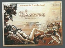 """Etiquette Vin  Chaume Domaine De Pont Perrault 2008 """"femme Superbe"""" - White Wines"""