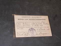 GEMEENTE MAASTRICHT-BEWIJS VAN NEDERLANRSCHAP Van Maria DISTERMANS/BEMELMANS  Geboren 21/3/1877. Maastricht 18/12/1923 - Documents Historiques