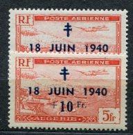 3827  -  ALGERIE  PA 8** 7ème Anniversaire De L'appel Du Gl De Gaulle   Tête Du 1 Cassée  +  Normal      SUPERBE - Algérie (1924-1962)