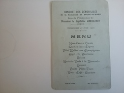 Menu Banquet Des Démobilisé De La Commune De Bourg Achard 27 Juin 1920 Sous La Présidence Du Capitaine Greslebin - Menus