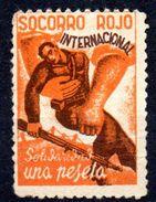 Viñeta Politica   Socorro Rojo Internacional Una Peseta. - Vignettes De La Guerre Civile